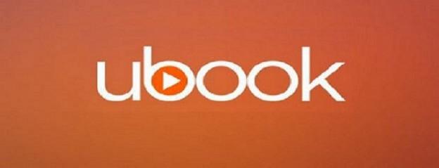 imagem com o logotipo do ubook, com o nome escrito em branco no fundo laranja e um triângulo símbolo do play no meio do b