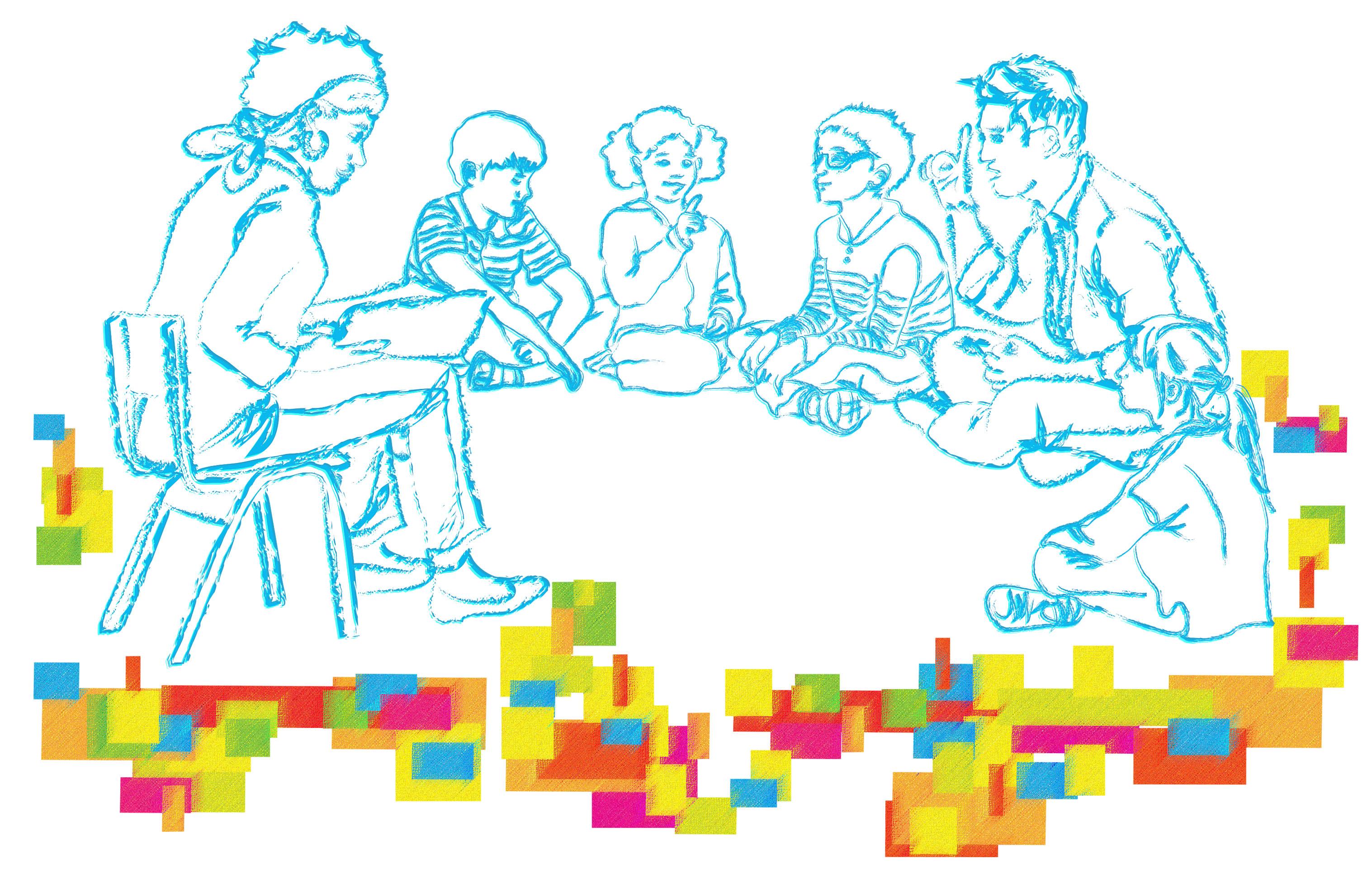 À direita e ao centro, uma ilustração com delicados traços azuis mostra uma jovem sentada em uma cadeira. Ela tem os cabelos curtos e uma faixa no cabelo, em seu colo está um livro aberto e ela parece ler. À frente dela estão quatro crianças, sentadas no chão em um semicírculo. Um menino de cabelos lisos e camiseta listrada olha para a menina sentada à sua esquerda. A menina tem os cabelos crespos presos em duas chuquinhas e eleva o dedo indicador da mão direita. À esquerda dela está um menino de óculos e camiseta também listrada; ele olha atentamente para a jovem lendo o livro. Ao lado esquerdo dele está um rapaz, ele é o intérprete de libras, está com o indicador direito erguido e com a boca aberta como se estivesse falando, tem o cabelo arrepiado e é mais alto que os demais. Finalizando a roda, uma menina de cabelos lisos e compridos, presos em um rabo de cavalo, observa atentamente a jovem que está lendo o livro. Abaixo do desenho, há um mosaico com várias formas quadriculadas e sobrepostas; estas formas são coloridas e têm diferentes tamanhos e disposições. Formam uma espécie de grafismo, que ocupa toda parte inferior do desenho e são coloridas em tons de amarelo, azul, vermelho, verde, roxo e laranja. No canto inferior direito, em letras pretas: Fundação Volkswagen e Mais Diferenças.